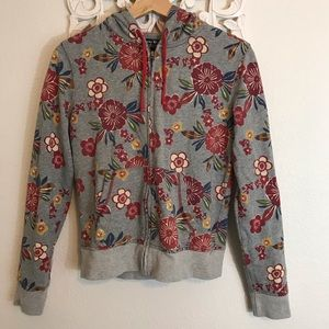 LUCKY BRAND ASIAN FLORAL HOODIE GRAY SIZE S